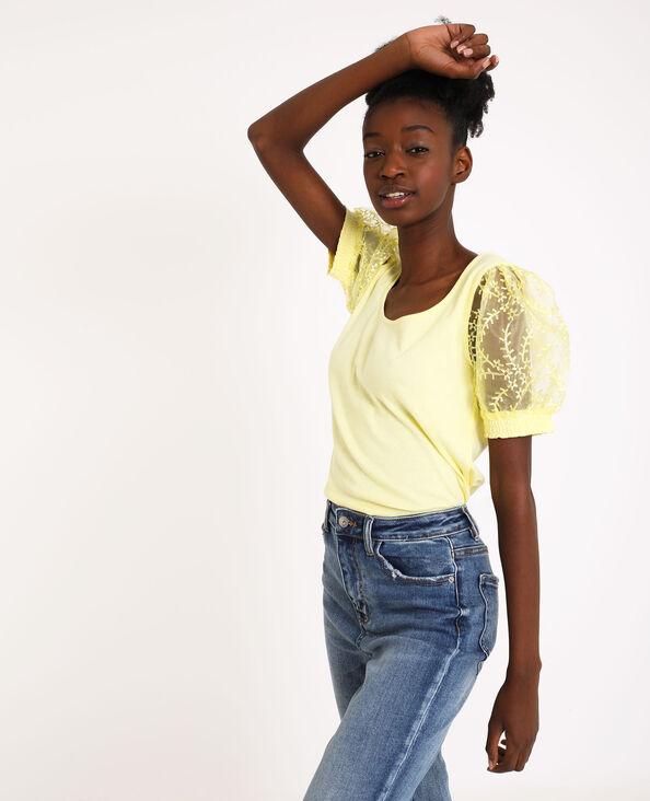 Shirt met ballonmouwen geel