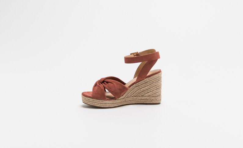 Sandalen met sleehak van stro poederroze