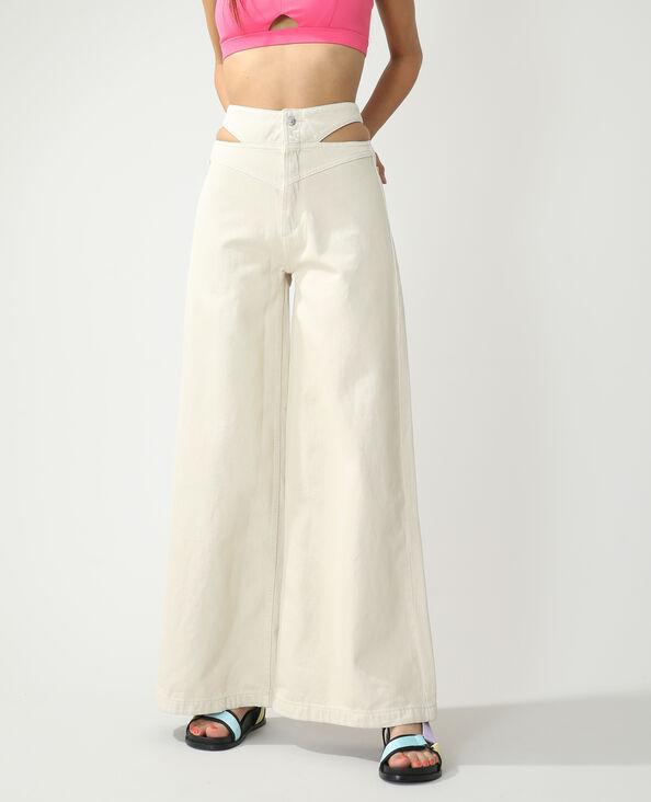 Wide leg jeans met hoge taille en openingen ecru - Pimkie
