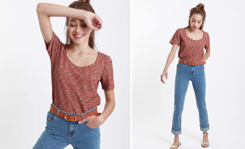 T-shirt nid d'abeille rouge