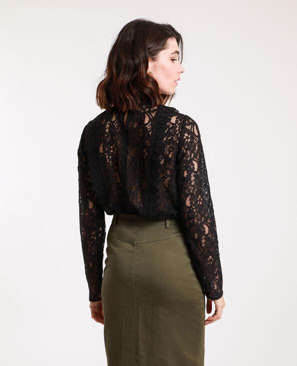 Geborduurde blouse zwart