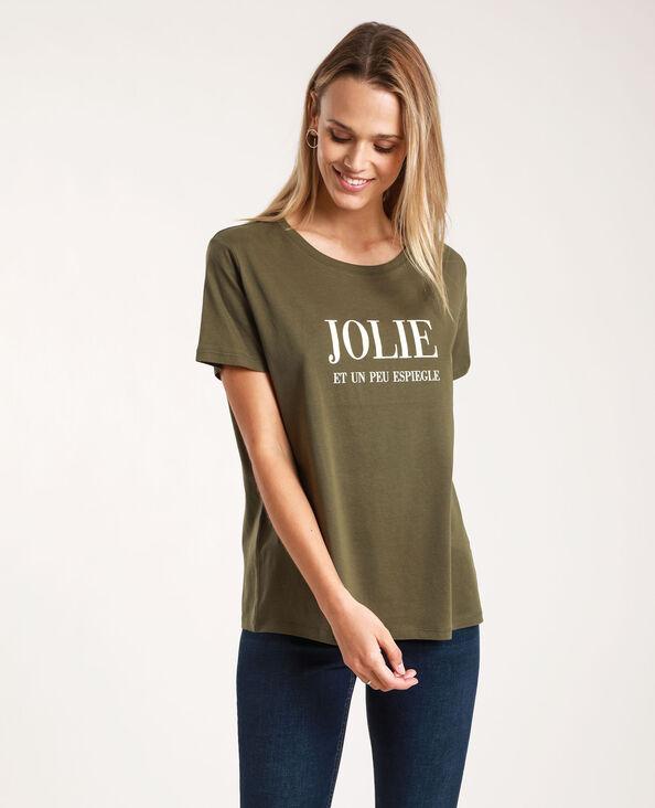 T-shirt met tekst kaki