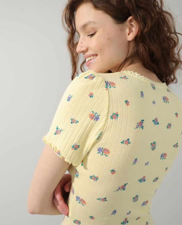 T-shirt met bloemenmotief geel - Pimkie