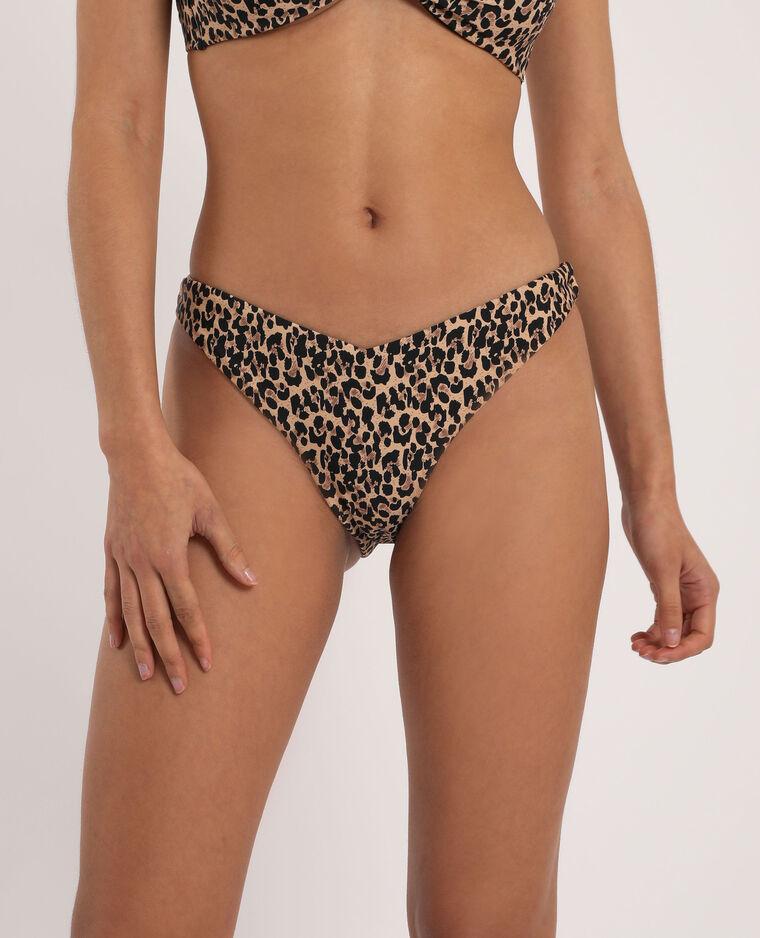 Bikinislip met luipaardprint kastanjebruin