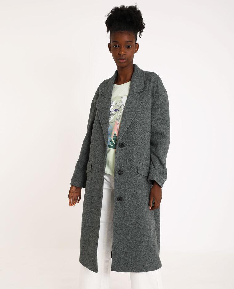 Manteau long droit gris