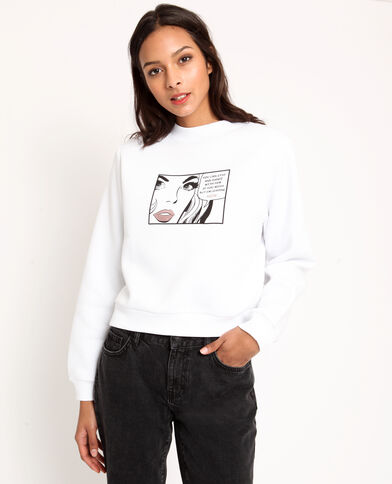 Sweater met print ecru