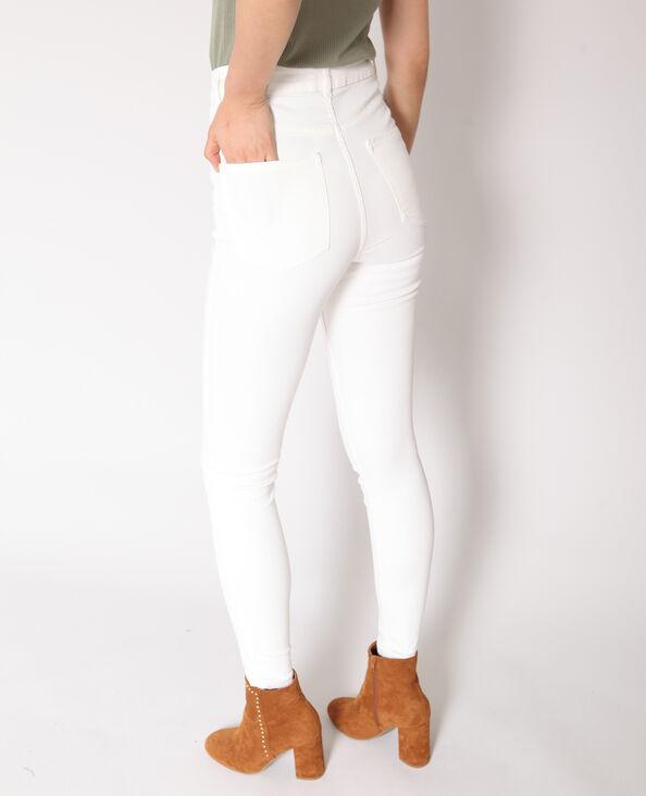 Pantalon skinny taille haute écru