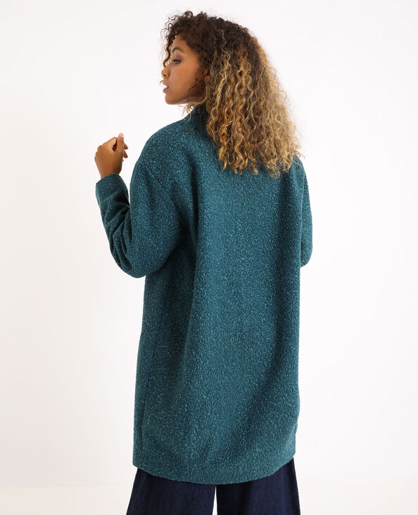 Manteau mi-long bleu