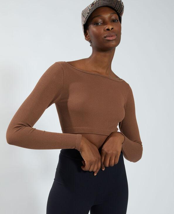 Cropped T-shirt met ribbels kastanjebruin - Pimkie