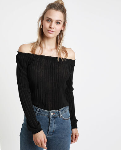Shirt met bardothals zwart