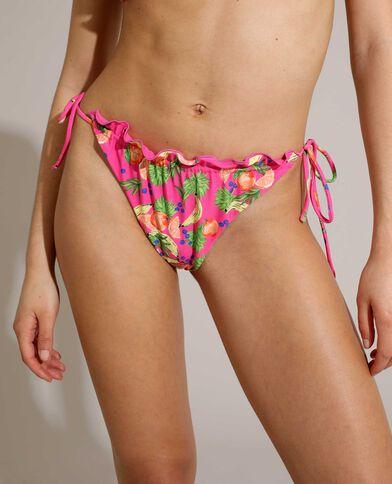 Aanpasbare bikinislip met fruitmotief roze