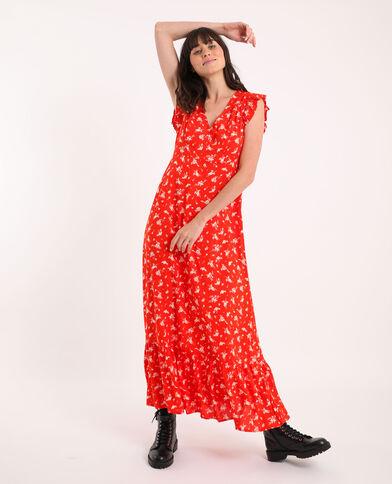 Robe longue à fleurs rouge