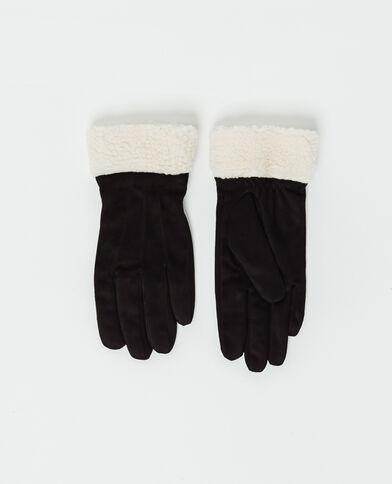 Handschoenen in twee materialen zwart