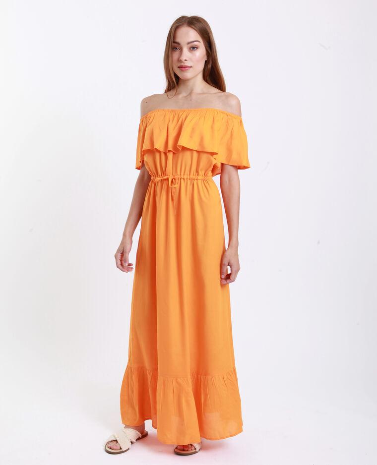 Robe longue volantée orange fluo