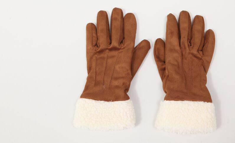 Handschoenen met nepbont beige