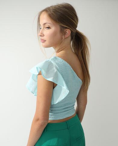 Gesmokte one-shoulder top zeeblauw - Pimkie