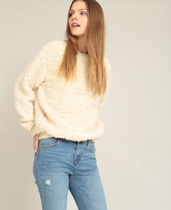 Sweater van imitatiebont Beige