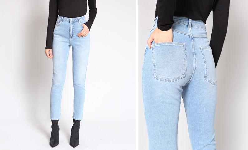 Slim fit jeans met hoge taille blauw