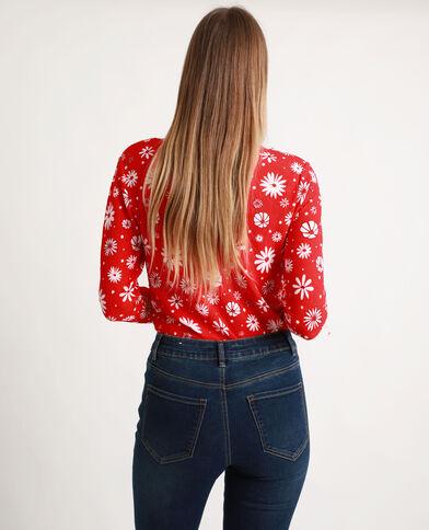 Shirt met bloemenprint rood