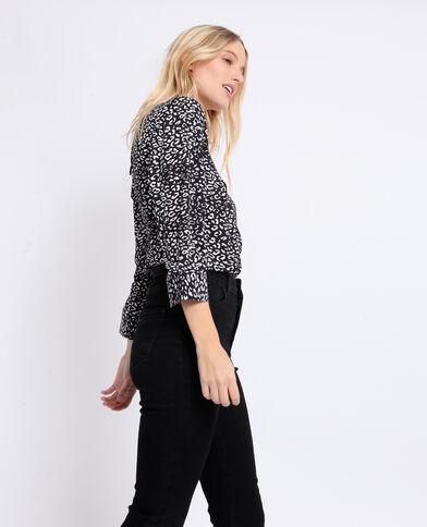 Blouse met body met luipaardprint zwart