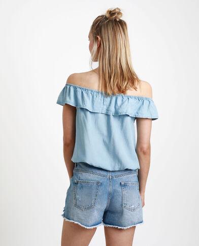 Top à col bardot bleu clair