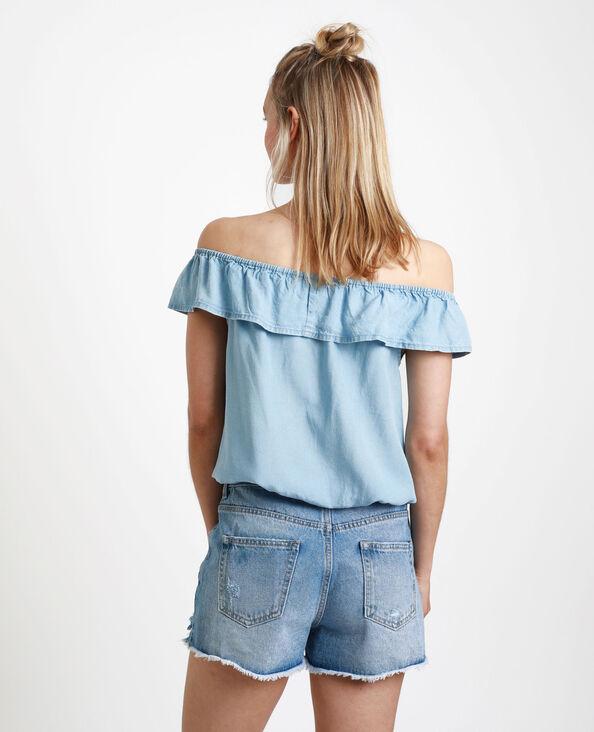 Shirt met bardothals Lichtblauw