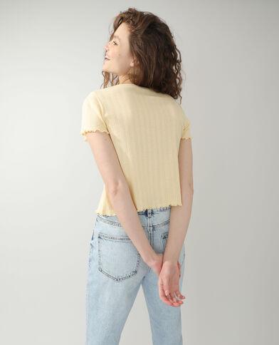 Opengewerkte cardigan geel - Pimkie