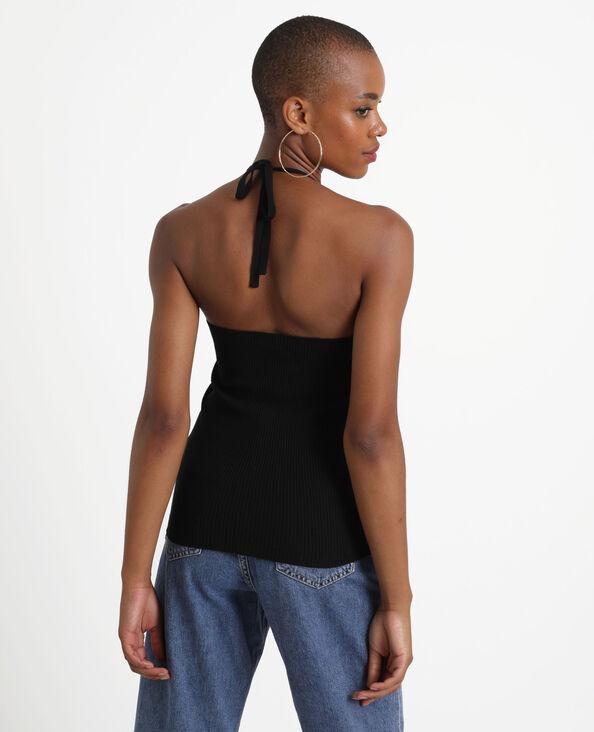Shirt met open rug zwart