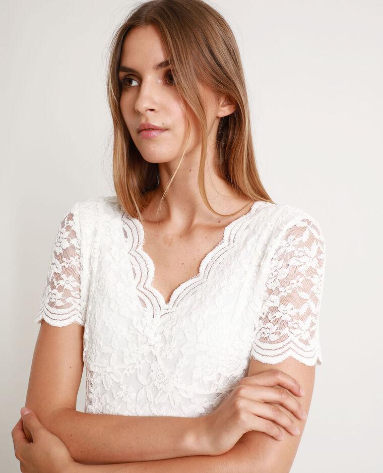 Tee-shirt en dentelle blanc cassé