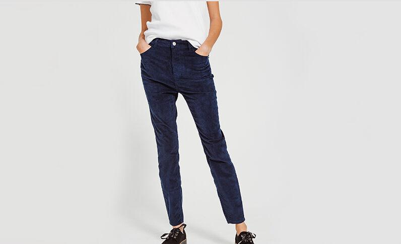 Pantalon skinny velours bleu marine