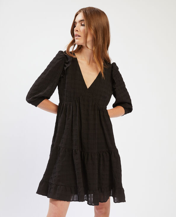 Soepele jurk met ruches zwart - Pimkie