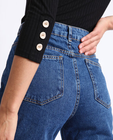 Jeans met hoge taille donkerblauw