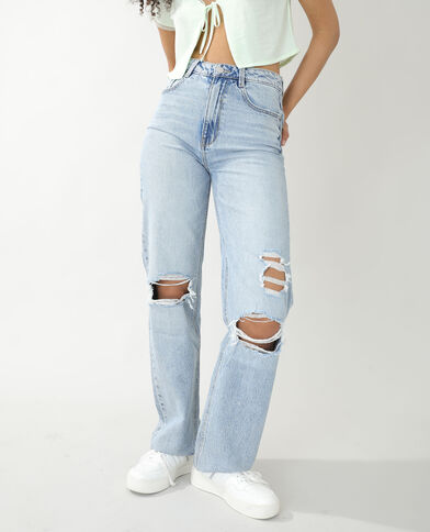 Straight-fit jeans met hoge taille en destroyed effect Lichtblauw - Pimkie