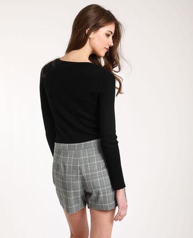 Dunne trui met V-hals zwart