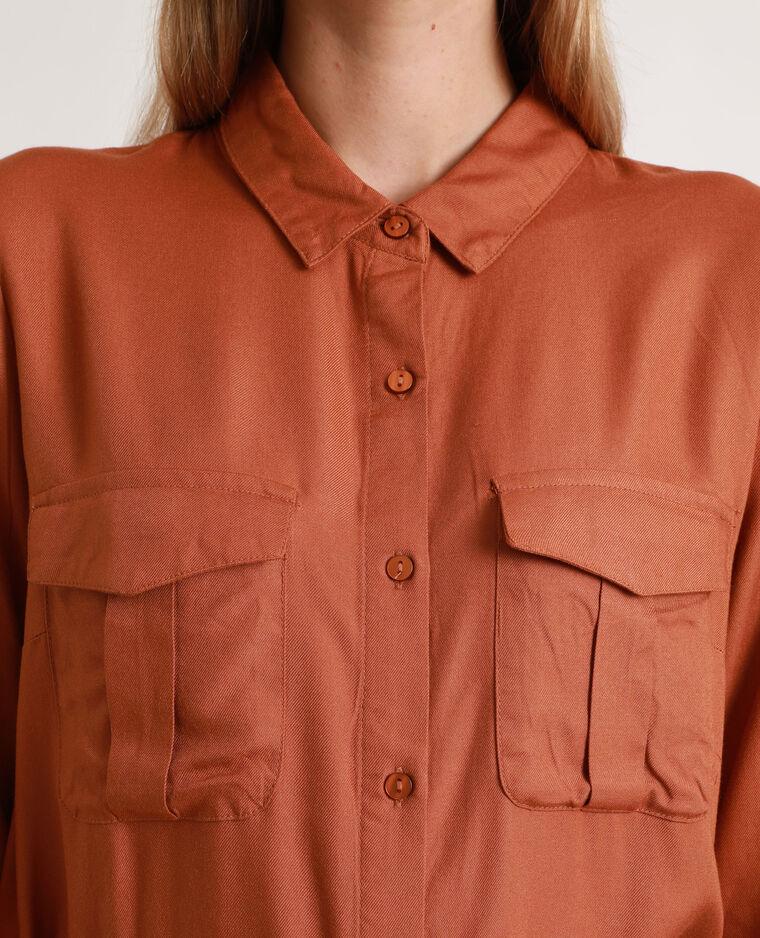 Robe-chemise fluide marron