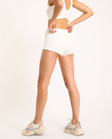 Loungewear short van velours gebroken wit