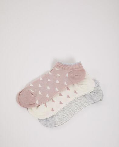 3 paar lage sokken grijs