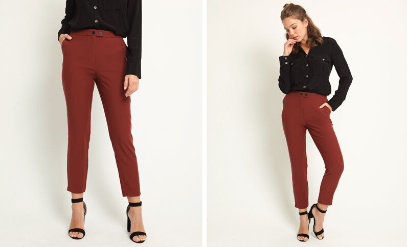 Pantalon city fluide rouille