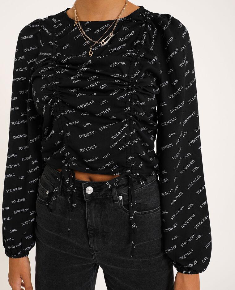 Blouse cropped noir - Pimkie