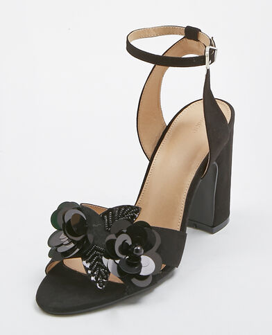 Sandales à fleurs noir