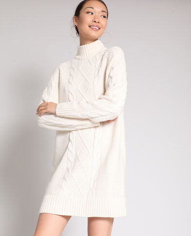 Trui-jurk met kabelmotief gebroken wit