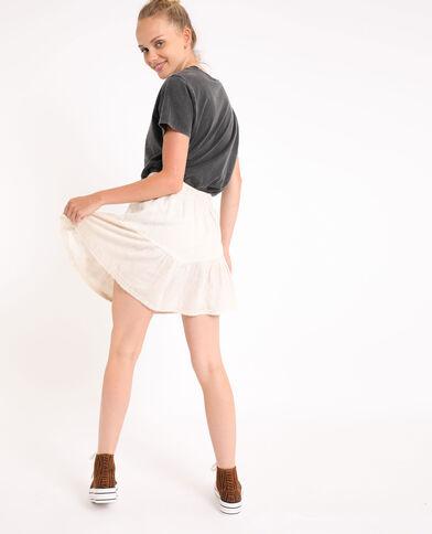 Jupe courte blanc cassé - Pimkie