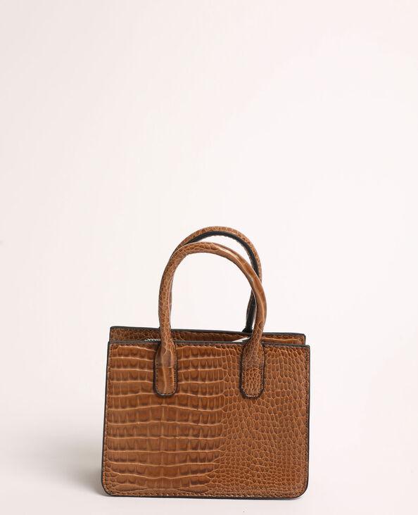 Mini-handtas met krokodillenleereffect geweven beige
