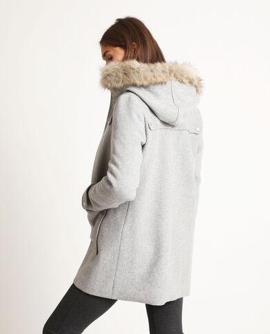 Manteau à capuche gris chiné