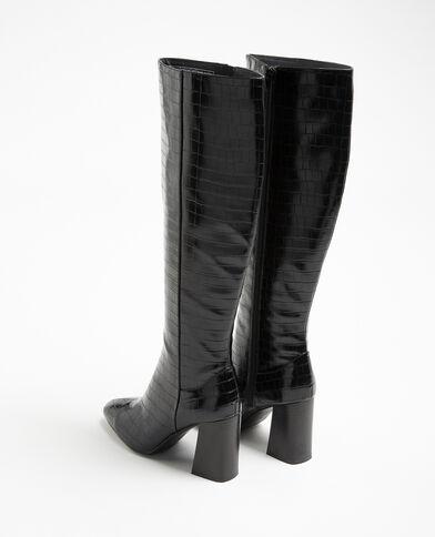 Hoge laarzen van imitatiekrokodillenleer zwart - Pimkie