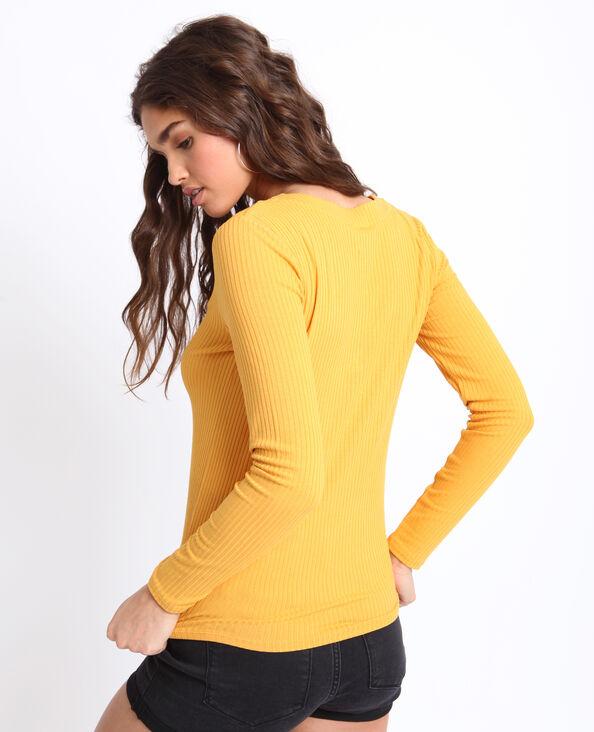 T-shirt van ribstof geel