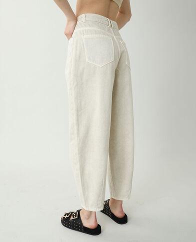 Slouchy jeans met hoge taille geweven beige