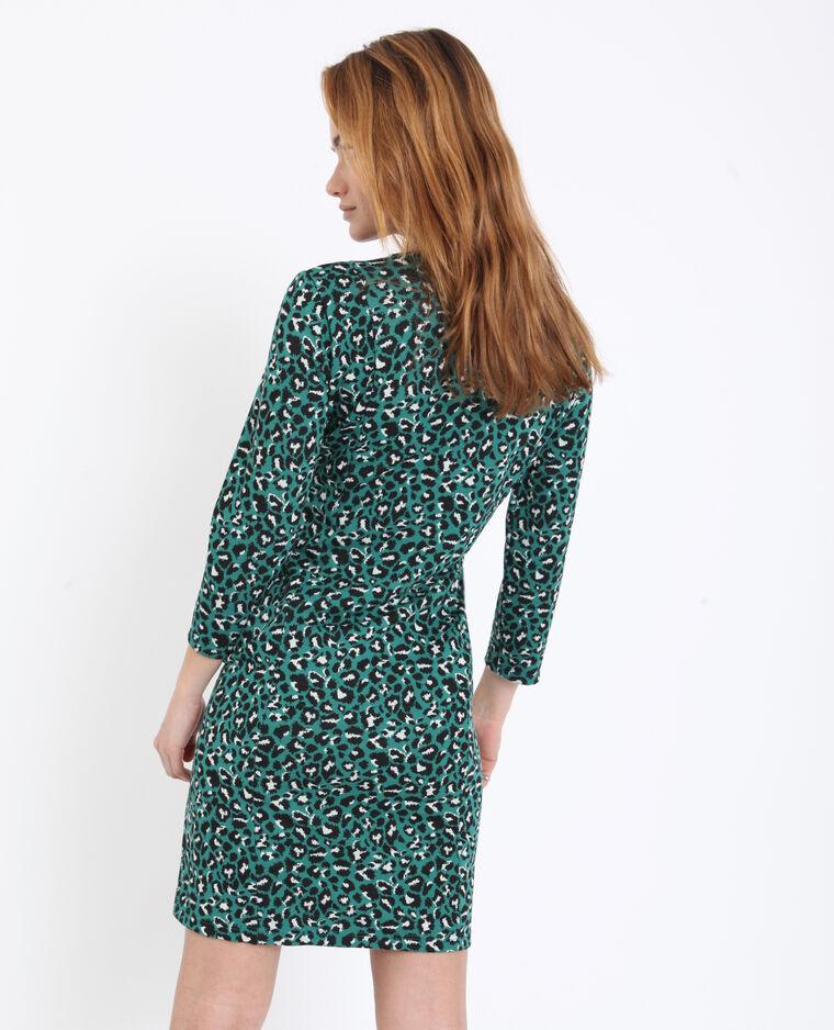 Robe midi léopard vert