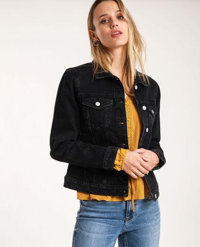 Donkerkleurig jeansjasje zwart