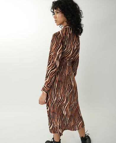 Lange jurk met tijgerprint kastanjebruin - Pimkie
